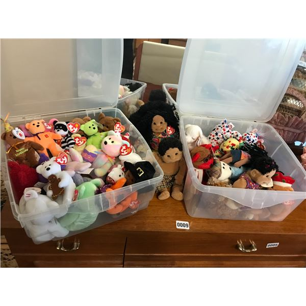 Huge Collection of Beanie Babies in Plastic Tubs