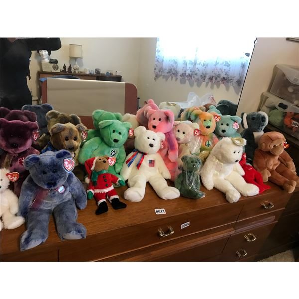 Assorted Collection of Beanie Babies with Tote