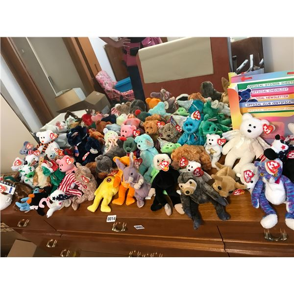 Large Selection of Beanie Babies in Plastic Drawers