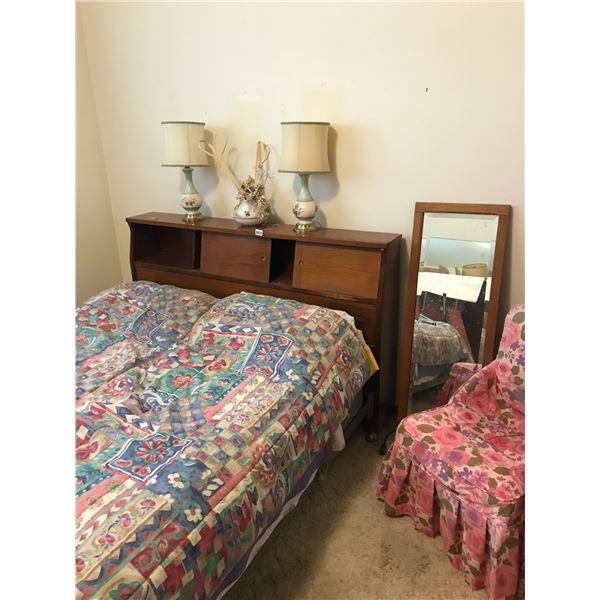 Twin Bed w  Wood Headboard, Lamp & Pitcher/Basin