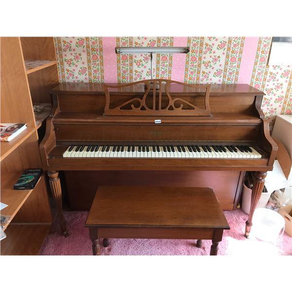 Henry Herbert Upright Piano with Bench & Music Books & Lam