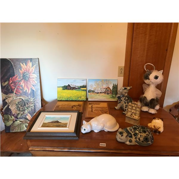Assorted Pictures & Cat Statues