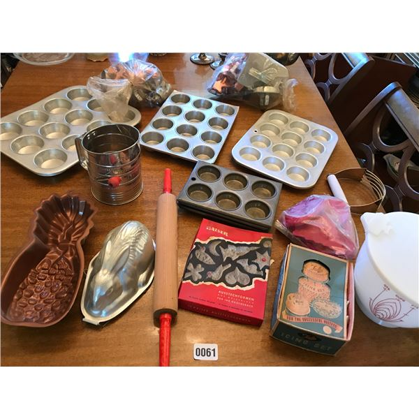 Baking Equipment, Rolling Pin, Cookie Cutters & Measuring Cups Etc.