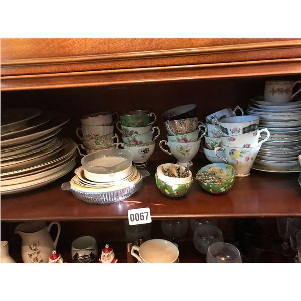 Assorted Teacups, Plates, Cream & Sugar