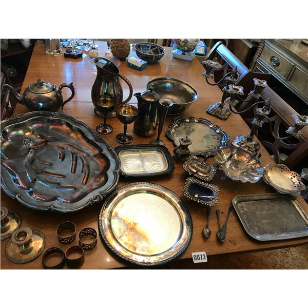 Assorted Silver – Candle Holders, Serving Dishes, Platters, Coffee Pot Etc.