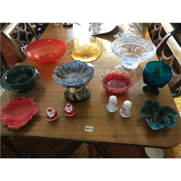 Crystal Bowl, Colourful Assorted Bowls, Salt & Pepper Shakers