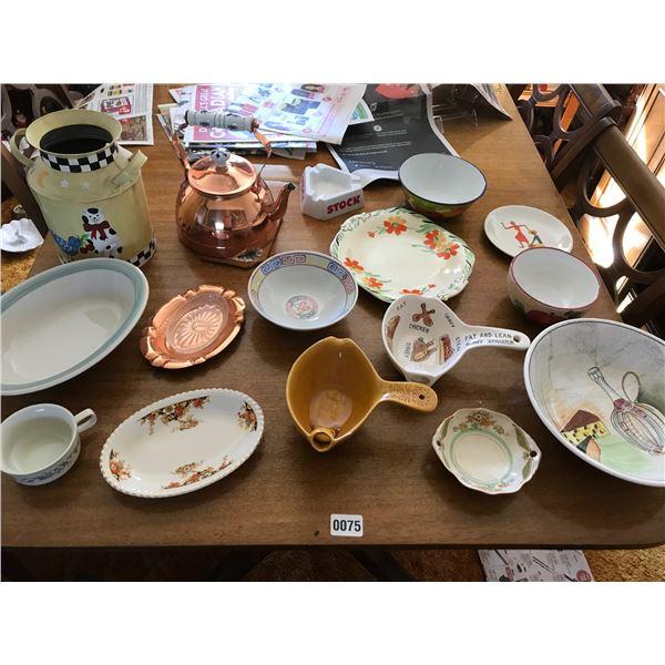 Copper Pot, Decorative Milk Jug & Assorted Dishware