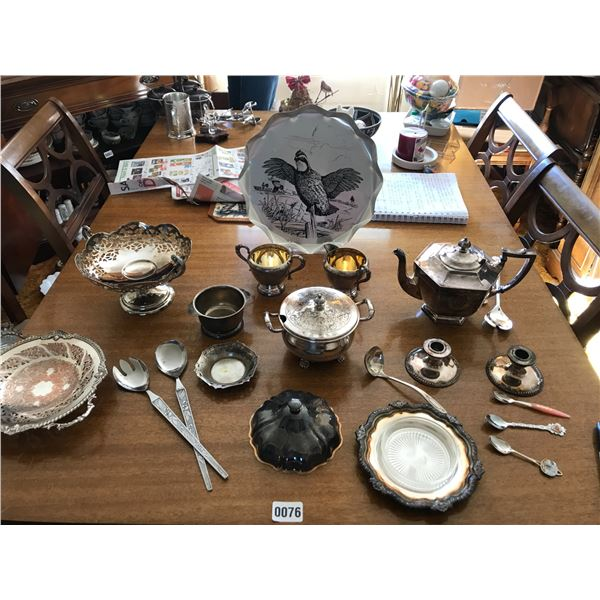 Assorted Silver Coffee Pot, Cream/Sugar Bowls, Candle Holders Etc