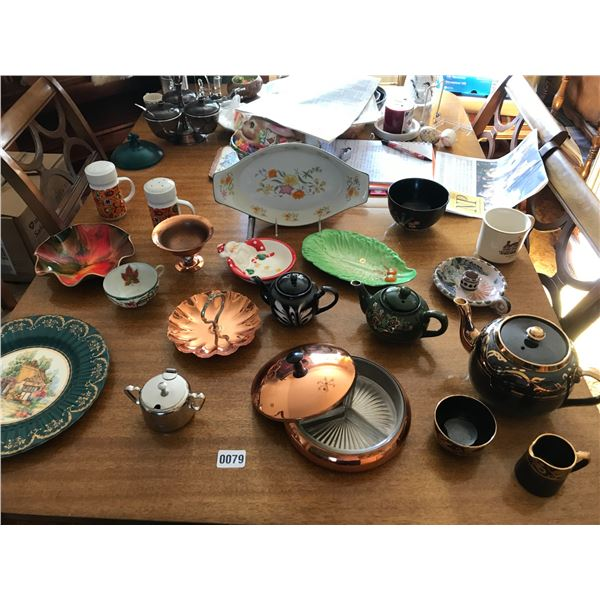 Copper Candy Dishes, Pickle Dish & Assorted China