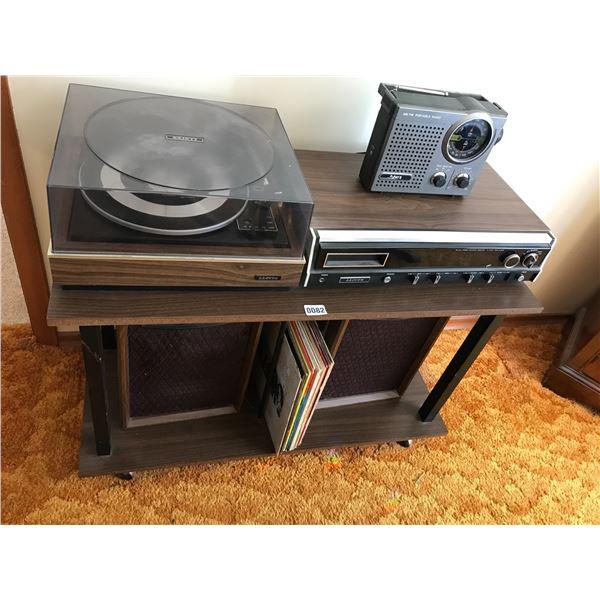 Lloyds Turntable Receiver Pulser II Portable RADIO, 2 Speakers & Various Records