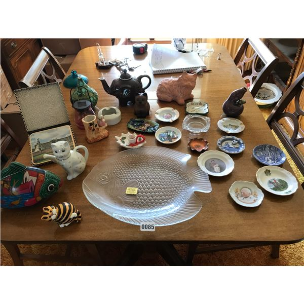 Elephant Teapot, Assorted Ashtrays , Cat/Fish Home Decor