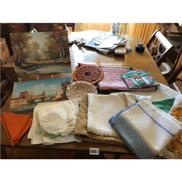 Assorted Table Linens, 2 Paintings and Trivets