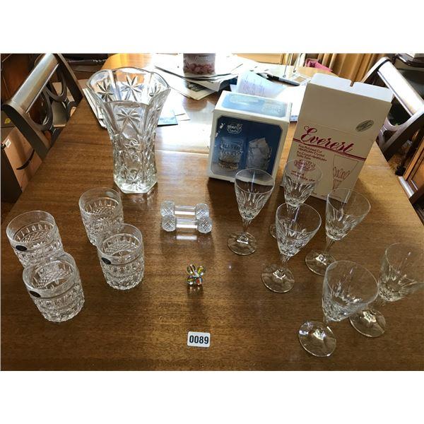 Bohemian Crystal Tumblers, Crystal Vase, Knife Holder Etc