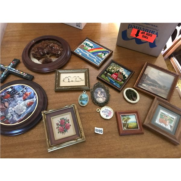 Petit Point Framed Pictures, Cross Beaded Needle Point & Assorted Framed Pictures