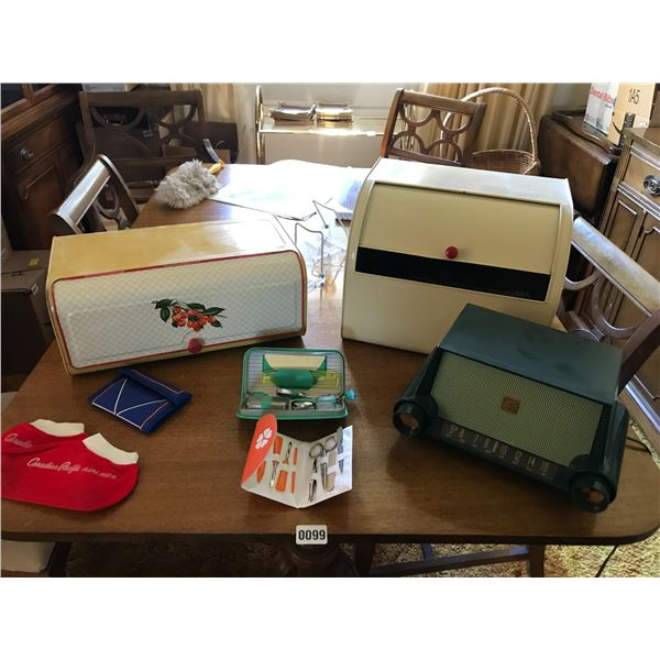 Bread Bins, Motorola MK-53H Radio & Vintage Manicure Sets