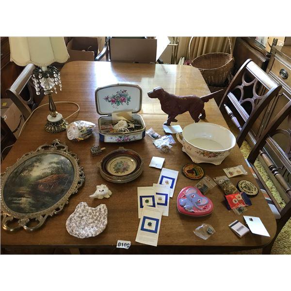 Assorted Pins, Vintage Lamps, Petit Points, Metal Golden Retriever Ornament, & Vintage Bowl