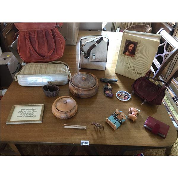 4 Vintage Purses, Wood Home Decor, Holy Bible & Pendelfin Bunny
