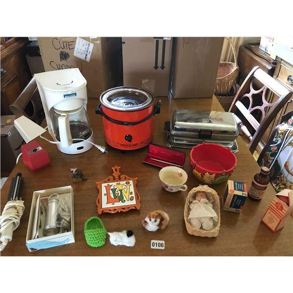 Lancaster Coffee Post, Rival Coffee Crock Pot, Vintage Waffle Maker, Asst Vintage Home Decor, Ointme