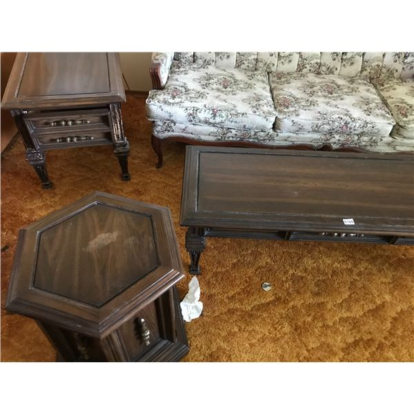 Wood Coffee Table & 2 End Tables