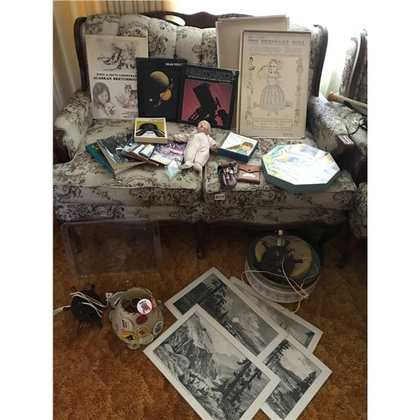 Vintage Ceiling Light, Placemats, Baby Doll, Heritage Doll Coloring Book, Asst Books/Cards Etc
