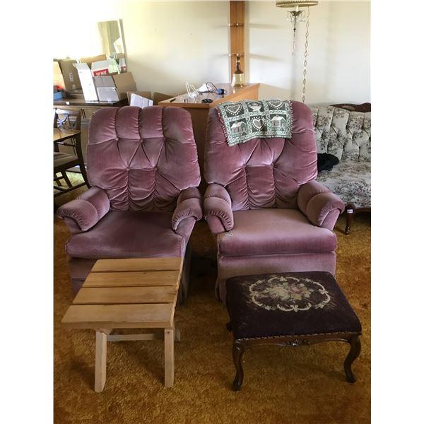 2 Vintage Side Chairs Upholstered in Rose Velvet, Burgandy Foot Stool & Wood Table