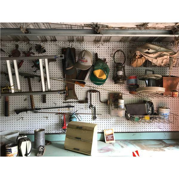 Various Tools, Lantern & Lg Ladder & Fishing Reels