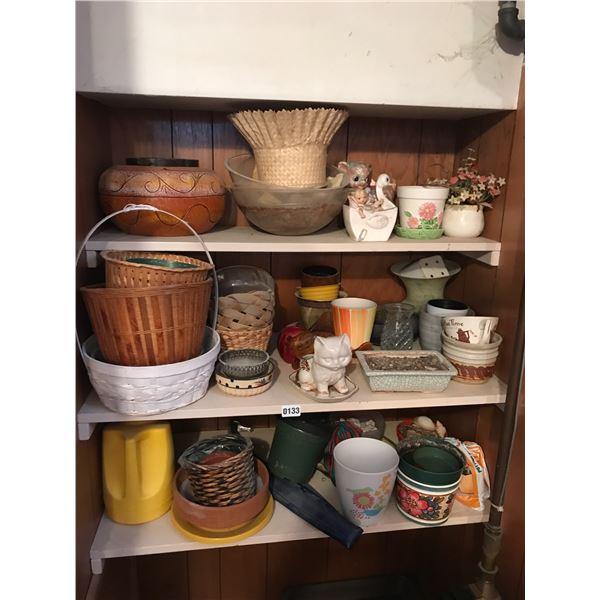 Assorted Pots, Baskets & Home Decor