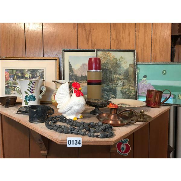 Vintage Pictures, Porcelain Rooster, Brass Decor & Asst China