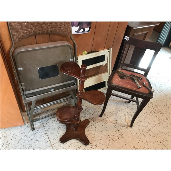 Antique Chair, Step Stool, Card Table & Plant Stand