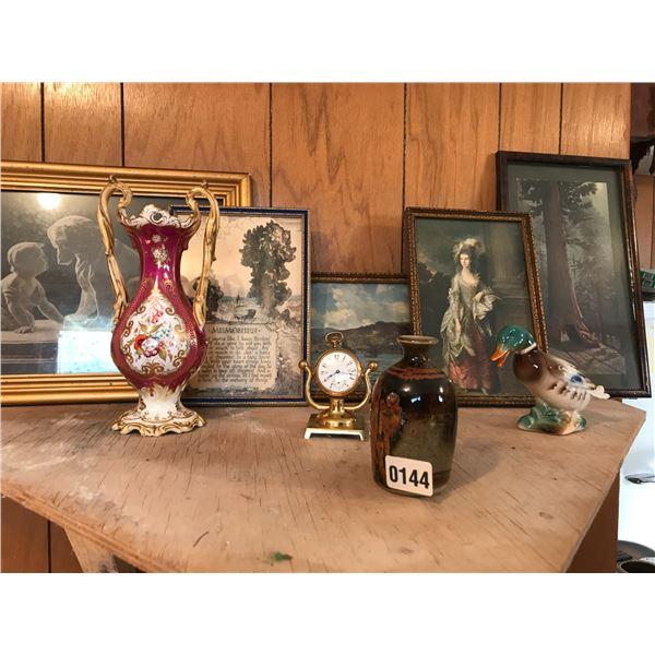 Vintage Pictures, Porcelain Ducks, Vases, Seth Thomas Pocket Watch/Stand