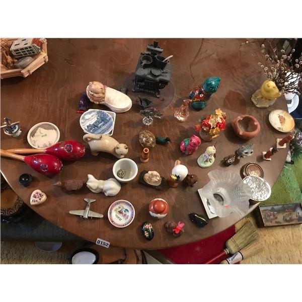 Various Home Decor including Miniature Cast Iron Stove