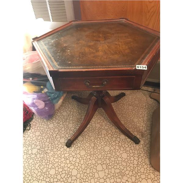 Leather & Wood Hexagonal Table
