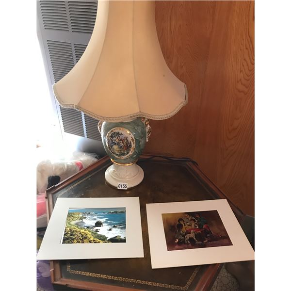 Ornate Vintage Lamp & 2 Pictures