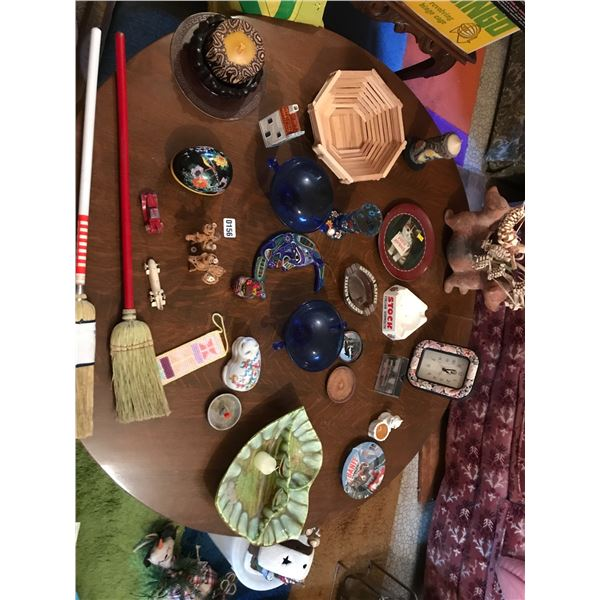 Tootsie Toy Cars, Vintage Dishes, Clock, Blue Bowls, Miniature Curling Brooms & Various Home Decor