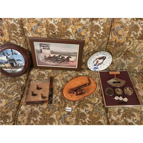 1986-87 Stanley Cup Plate, Fur Wall Hanging, Antique Pipe, Caribou Antler Jewellery & Inuit Knife Et