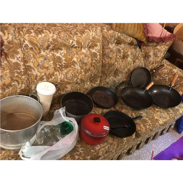 Cast Iron Pans & Vintage Glasses