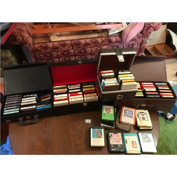 Large Lot of Cassettes, Eight Tracks & Cases