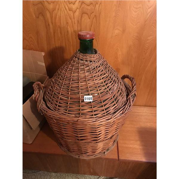 Massive Viresa Green Glass Bottle Demijohn Woven Wicker Encased Wine Bottle Vessel