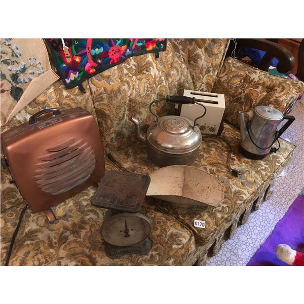 Vintage Coffee Pot, Kettle, Scale, Fan & Toaster