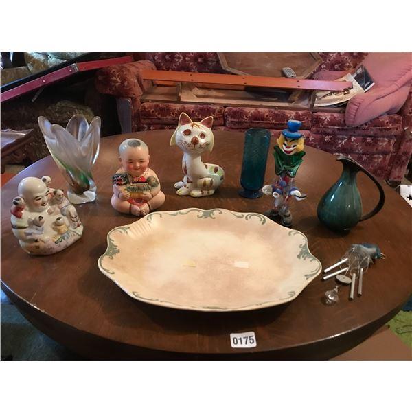 Blue Mountain Pitcher, Antique Platter, Glass Clown, Vases & Porcelain