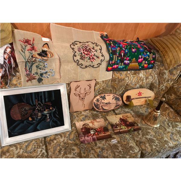 Velvet Wall Art, Needlepoint Tapestry, Wood Art & Large Brass School Bell