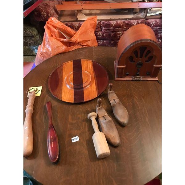 Welco Collectors Edition Radio, Wooden Platter, Wood Fish Boner, & Vintage Shoe Stretcher
