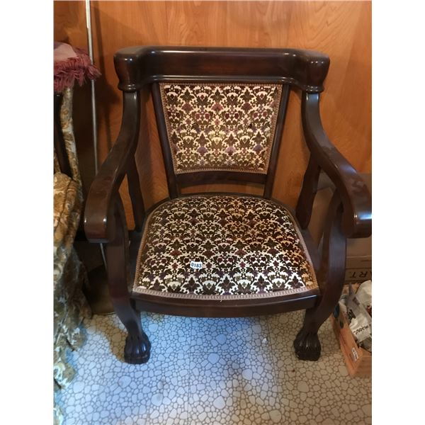 Large Upholstered Chair with Lion Claw Feet
