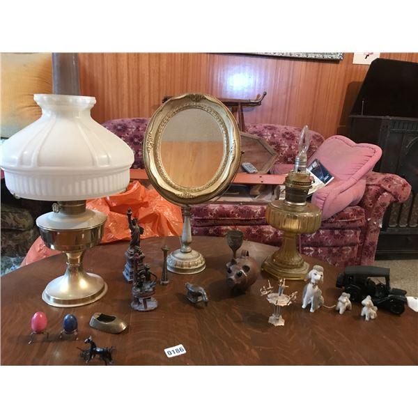 Oil Lanterns, Brass Ornaments, Ornate Swivel Mirror/Stand & Home Decor
