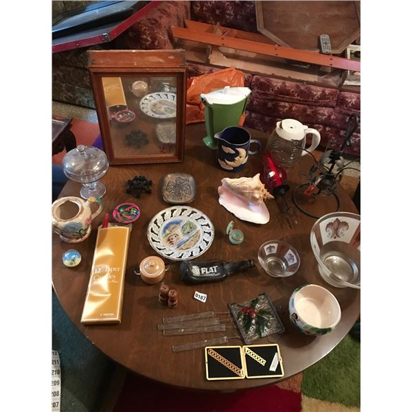 Mirror Cabinet, Conch Shell, Wind Chime & Assorted Glassware & China