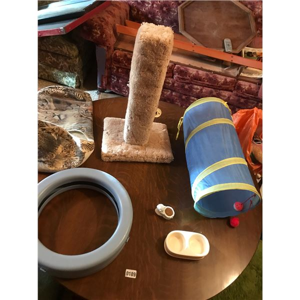 Various Kitty Cat Items including Scratch Post