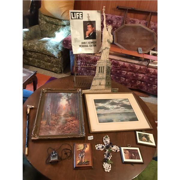 John F. Kennedy Life Magazine, Assorted Wall Art (Statue of Liberty), Metal Rack