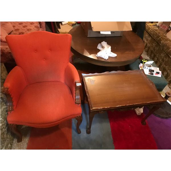 Mid Century Modern Upholstered Orange Chair Green Chair & Wood Table