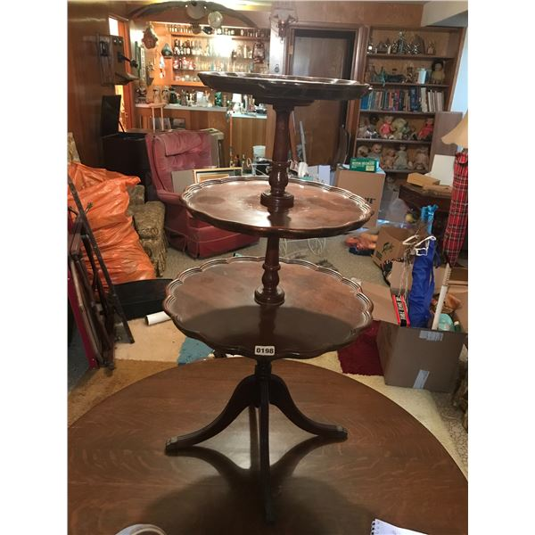 3 Tiered Scalloped Wood Side Table with Claw Feet