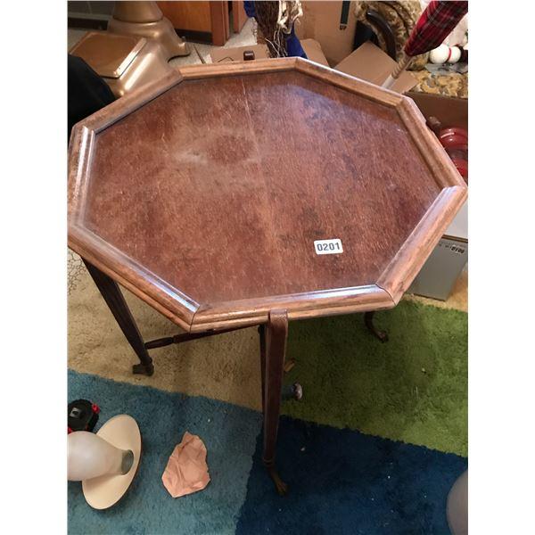 Hexagonal Wood Table with Claw Feet